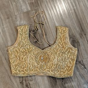 ❄️ 3/$25 Gold Embroidered Indian Choli Rhinestones